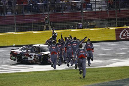 dillon: May 29, 2017 - Concord, NC, USA: Austin Dillon (3) celebrates after taking the checkered flag and winning the Coca Cola 600 at Charlotte Motor Speedway in Concord, NC.