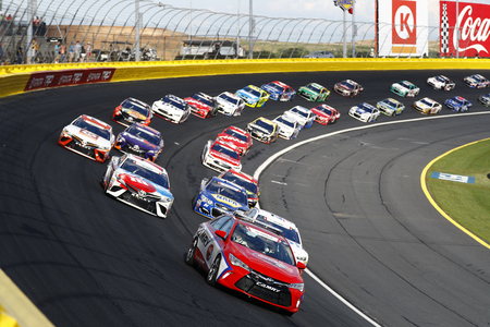 May 28, 2017 - Concord, NC, USA: Kyle Busch (18) and Kevin Harvick (4) lead the field behind the Toyota Pace Car before the Coca Cola 600 at Charlotte Motor Speedway in Concord, NC.