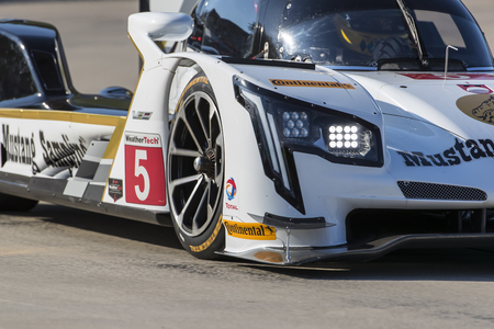 June 02, 2017 - Detroit, Michigan, USA:  The Mustang Sampling Racing Cadillac DPI car races through the turns at the Chevrolet Sports Car Classic at Belle Isle Street Course in Detroit, Michigan.