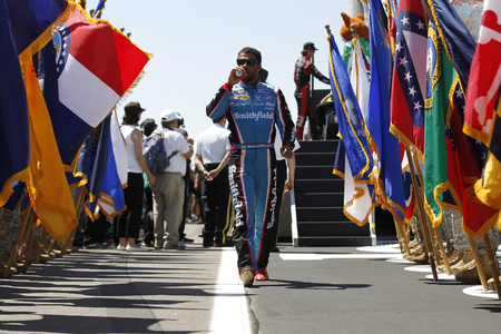 June 11, 2017 - Long Pond, PA, USA: Darrell Wallace, Jr. (43) gets introduced to the crowd for the Pocono 400 at Pocono Raceway in Long Pond, PA. Editorial