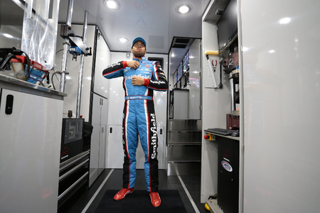 wallace: June 09, 2017 - Long Pond, PA, USA: Darrell Wallace, Jr. (43) gets suited up prior to practice for the Pocono 400 at Pocono Raceway in Long Pond, PA. Editorial