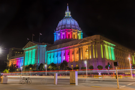 City Hall at night before the Gay Pride parade in San Francisco, California