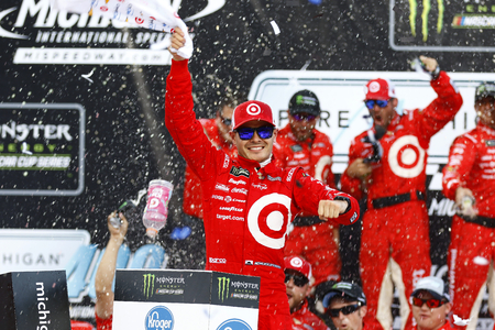 August 13, 2017 - Brooklyn, Michigan, USA: Kyle Larson (42) wins the Pure Michigan 400 at Michigan International Speedway in Brooklyn, Michigan. Editorial