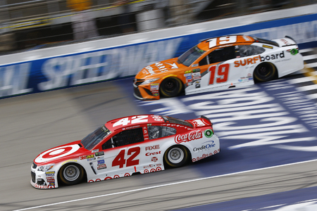 August 13, 2017 - Brooklyn, Michigan, USA: Kyle Larson (42) and Daniel Suarez (19) battle for position during the Pure Michigan 400 at Michigan International Speedway in Brooklyn, Michigan.