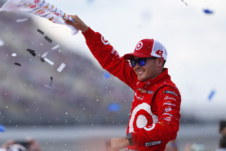 August 13, 2017 - Brooklyn, Michigan, USA: Kyle Larson (42) celebrates after winning the Pure Michigan 400 at Michigan International Speedway in Brooklyn, Michigan. Editorial