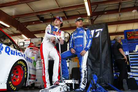 September 15, 2017 - Joliet, Illinois, USA: Ricky Stenhouse Jr (17) and Ryan Blaney (21) hangs out in the garage during practice for the Tales of the Turtles 400 at Chicagoland Speedway in Joliet, Illinois.