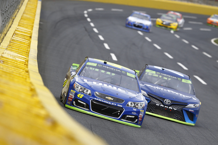 October 08, 2017 - Concord, North Carolina, USA: Jimmie Johnson (48) enters turn one during the Bank of America 500 at Charlotte Motor Speedway in Concord, North Carolina. Editorial