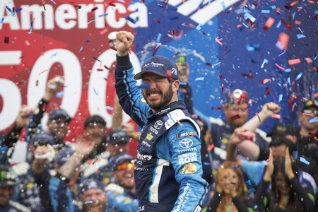 October 08, 2017 - Concord, North Carolina, USA: Martin Truex Jr (78) takes the checkered flag and wins the Bank of America 500 at Charlotte Motor Speedway in Concord, North Carolina.