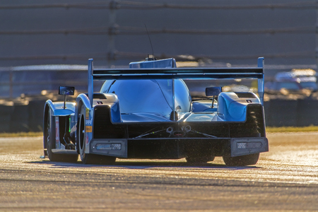 January 06, 2018 - Daytona Beach, Florida, USA:  The Bar1 Motorsports Top 1 Oil Multimatic Riley LMP2 car races through the turns at the Roar Before The Rolex 24 at Daytona International Speedway in Daytona Beach, Florida. Editöryel
