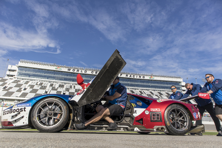 January 25, 2018 - Daytona Beach, Florida, USA:  The WeatherTech SportsCar Championship line up for their annual photo day before the 24 Hours At Daytona at Daytona International Speedway in Daytona Beach, Florida.