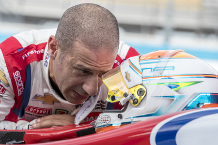 February 10, 2018 - Avondale, Arizona, USA: Tony Kanaan (14) talks to his rookie teammate, Matheus Leist (4), before a practice session for the Prix View at ISM Raceway in Avondale, Arizona.