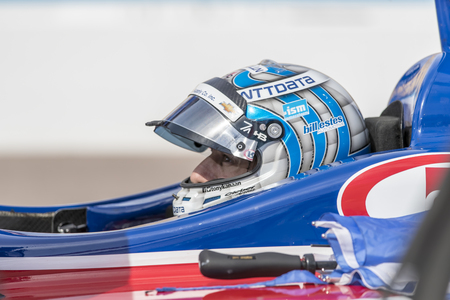 February 10, 2018 - Avondale, Arizona, USA: Tony Kanaan (14) straps in to his ABC Supply IndyCar before a practice session for the Prix View at ISM Raceway in Avondale, Arizona.