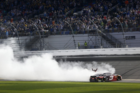 February 18, 2018 - Daytona Beach, Florida, USA: Austin Dillon (3) does a burnout after taking the checkered flag and winning the Daytona 500 at Daytona International Speedway in Daytona Beach, Florida.
