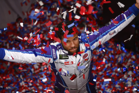 February 14, 2018 - Daytona Beach, Florida, USA: Darrell Wallace Jr (43) takes production photos for the Daytona 500 media day prior to the Daytona 500 at Daytona International Speedway in Daytona Beach, Florida. Editorial