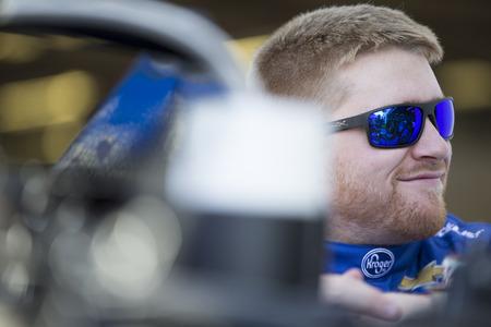 February 10, 2018 - Daytona Beach, Florida, USA: Chris Buescher (37) gets ready to practice for the Daytona 500 at Daytona International Speedway in Daytona Beach, Florida.