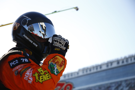 February 18, 2018 - Daytona Beach, Florida, USA: Martin Truex Jr (78) comes down pit road for service during the Daytona 500 at Daytona International Speedway in Daytona Beach, Florida. Editorial