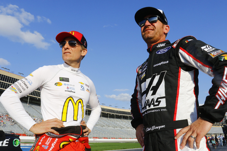 February 23, 2018 - Hampton, Georgia, USA: Jamie McMurray (1) and Clint Bowyer (14) hang out on pit road before qualifying for  the Folds of Honor QuikTrip 500 at Atlanta Motor Speedway in Hampton, Georgia.
