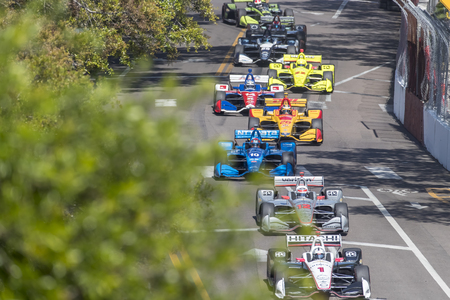 March 11, 2018 - St. Petersburg, Florida, USA: Ed Jones (10) takes to the track for the Firestone Grand Prix of St. Petersburg at Streets of St. Petersburg in St. Petersburg, Florida.