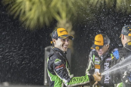 March 17, 2018 - Sebring, Florida, USA:  The IMSA WeatherTech SportsCar Championship teams accept their trophies after winning the Mobil 1 12 Hours of Sebring at Sebring International Raceway in Sebring, Florida. Editorial