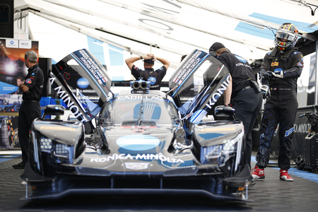March 15, 2018 - Sebring, Florida, USA:  The Konica Minolta Business Solutions USA Cadillac DPI car races through the turns at the Mobil 1 12 Hours of Sebring at Sebring International Raceway in Sebring, Florida.