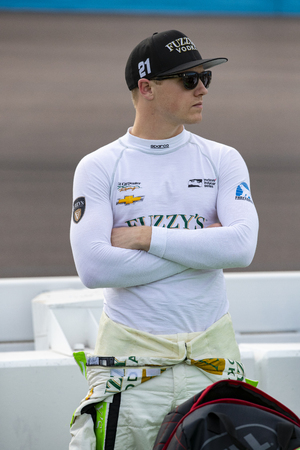 April 06, 2018 - Avondale, Arizona, USA: Spencer Pigot (21) prepares to qualify for the Desert Diamond West Valley Casino Phoenix Grand Prix at ISM Raceway in Avondale, Arizona. Editorial
