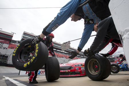 April 16, 2018 - Bristol, Tennessee, USA: Kurt Busch (41) makes a pit stop for the Food City 500 at Bristol Motor Speedway in Bristol, Tennessee.