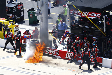 April 14, 2018 - Bristol, Tennessee, USA: A fire breaks out in the Cole Custer (00) pit box after a pit stop during the Fitzgerald Glider Kits 300 at Bristol Motor Speedway in Bristol, Tennessee.