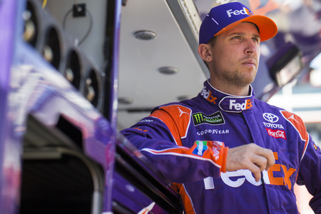 April 14, 2018 - Bristol, Tennessee, USA: Denny Hamlin (11) waits to practice for the Food City 500 at Bristol Motor Speedway in Bristol, Tennessee.