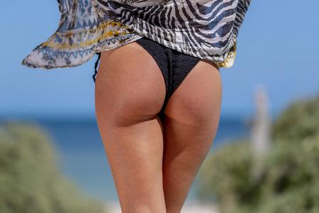 A gorgeous bikini model posing in a beach environment
