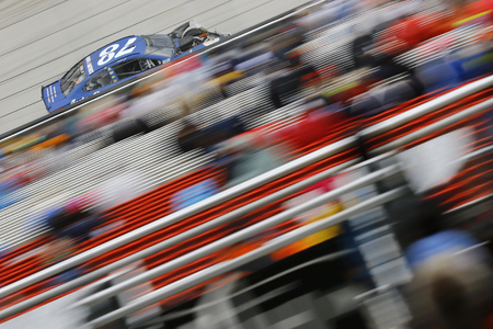 April 15, 2018 - Bristol, Tennessee, USA: Martin Truex, Jr (78) brings his race car down the back stretch during the Food City 500 at Bristol Motor Speedway in Bristol, Tennessee.