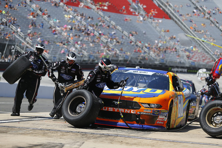 April 14, 2018 - Bristol, Tennesse , USA: Ty Majeski (60) makes a pit stop for the Fitzgerald Glider Kits 300 at Bristol Motor Speedway in Bristol, Tennesse .