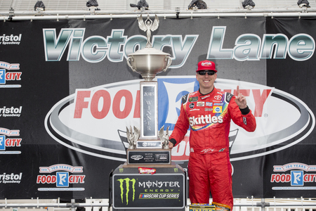 April 16, 2018 - Bristol, Tennessee, USA: Kyle Busch (18) wins the Food City 500 at Bristol Motor Speedway in Bristol, Tennessee.