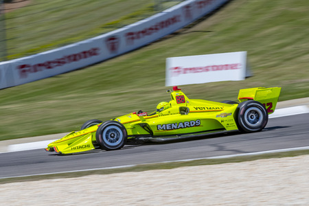 The Verizon IndyCar Teams take to the track for a practice session for the Honda Indy Grand Prix of Alabama at Barber Motorsports Park in Birmingham, Alabama. Editorial