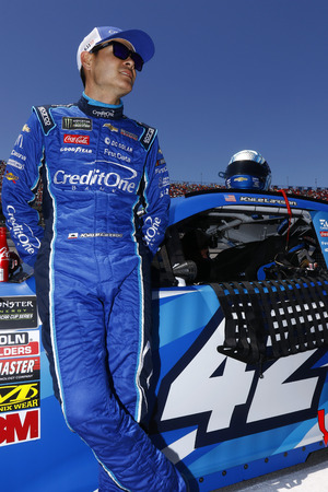 Kyle Larson (42) hangs out on pit road before racing in the GEICO 500 at Talladega Superspeedway in Talladega, Alabama.