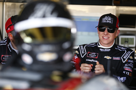 John Hunter Nemechek (42) hangs out in the garage prior to final practice for the OneMain Financial 200 at Dover International Speedway in Dover, Delaware.