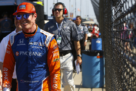 May 11, 2018 - Indianapolis, Indiana, USA: SCOTT DIXON (9) of New Zealand walks back to the paddock after practice for for the IndyCar Grand Prix at Indianapolis Motor Speedway Road Course in Indianapolis, Indiana.