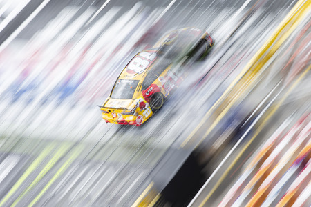May 19, 2018 - Concord, North Carolina, USA: Kyle Busch (18) races down the dog leg during the final practice for the Monster Energy Open at Charlotte Motor Speedway in Concord, North Carolina.