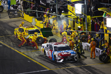 May 27, 2018 - Concord, North Carolina, USA: Kyle Busch (18) makes a pit stop during the Coca-Cola 600 at Charlotte Motor Speedway in Concord, North Carolina.
