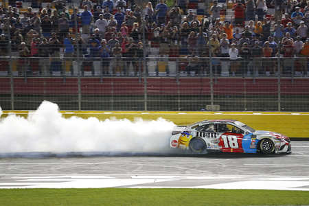 May 27, 2018 - Concord, North Carolina, USA: Kyle Busch (18) wins the Coca-Cola 600 at Charlotte Motor Speedway in Concord, North Carolina.