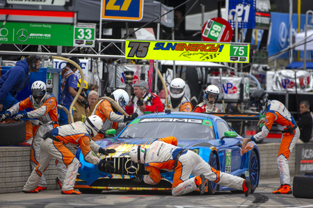 June 02, 2018 - Detroit, Michigan, USA: The SunEnergy 1 Racing Mercedes AMG GT3 car makes a pit stop during the Chevrolet Sports Car Challenge at Belle Isle Street Course in Detroit, Michigan.