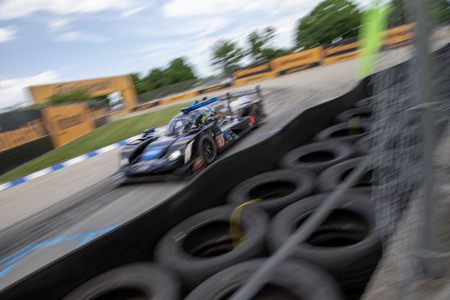 June 01, 2018 - Detroit, Michigan, USA: The Konica Minolta Business Solutions USA Cadillac DPI car practices for the Chevrolet Sports Car Challenge at Belle Isle Street Course in Detroit, Michigan.