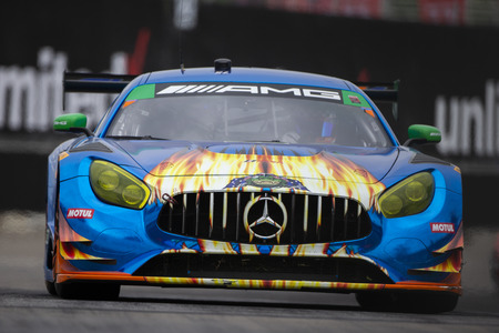 June 02, 2018 - Detroit, Michigan, USA: The SunEnergy 1 Racing Mercedes AMG GT3 car races for the Chevrolet Sports Car Challenge at Belle Isle Street Course in Detroit, Michigan. Editöryel
