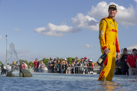 June 03, 2018 - Detroit, Michigan, USA:  RYAN HUNTER-REAY (28) of the United States wins the Detroit Grand Prix at Belle Isle Street Course in Detroit, Michigan. Editorial