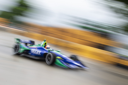 June 03, 2018 - Detroit, Michigan, USA:  ALEXANDER ROSSI (27) of the United States qualifies for the Detroit Grand Prix at Belle Isle Street Course in Detroit, Michigan. Editorial