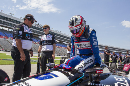 June 08, 2018 - Fort Worth, Texas, USA:  GRAHAM RAHAL (15) of the United States  prepares to take to the track to qualify for the DXC Technology 600 at Texas Motor Speedway in Fort Worth, Texas. Editorial
