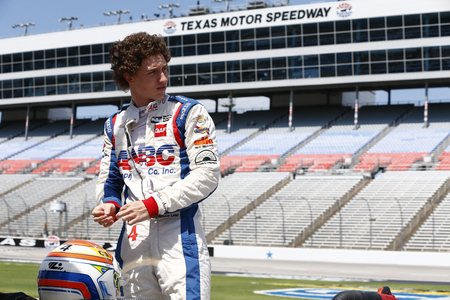June 08, 2018 - Fort Worth, Texas, USA:  MATHEUS LEIST (4) of Brazil hangs out on pit road prior to taking to the track to practice for the DXC Technology 600 at Texas Motor Speedway in Fort Worth, Texas.