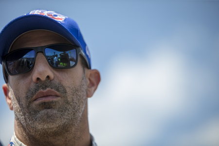 June 08, 2018 - Fort Worth, Texas, USA:  TONY KANAAN (14) of Brazil  prepares to take to the track to qualify for the DXC Technology 600 at Texas Motor Speedway in Fort Worth, Texas. Editorial