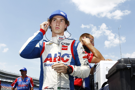 June 08, 2018 - Fort Worth, Texas, USA:  MATHEUS LEIST (4) of Brazil  prepares to take to the track to qualify for the DXC Technology 600 at Texas Motor Speedway in Fort Worth, Texas.