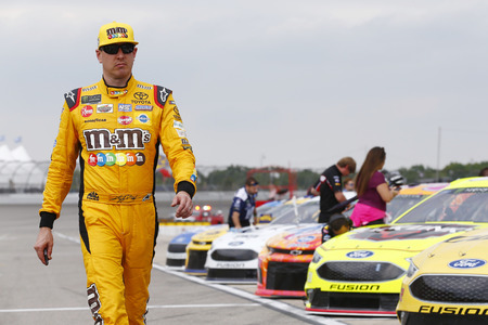 June 08, 2018 - Brooklyn, Michigan, USA: Kyle Busch (18) hangs out on pit road before qualifying for the FireKeepers Casino 400 at Michigan International Speedway in Brooklyn, Michigan.