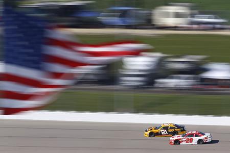 June 17, 2018 - Newton, Iowa, USA: Daniel Hemric (21) and Christopher Bell (20) battle for position during the Iowa 250 at Iowa Speedway in Newton, Iowa.